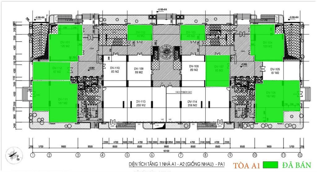 Mặt bằng Shophouse - Ki ốt tầng 1 tòa A1, A2 thiết kế giống nhau