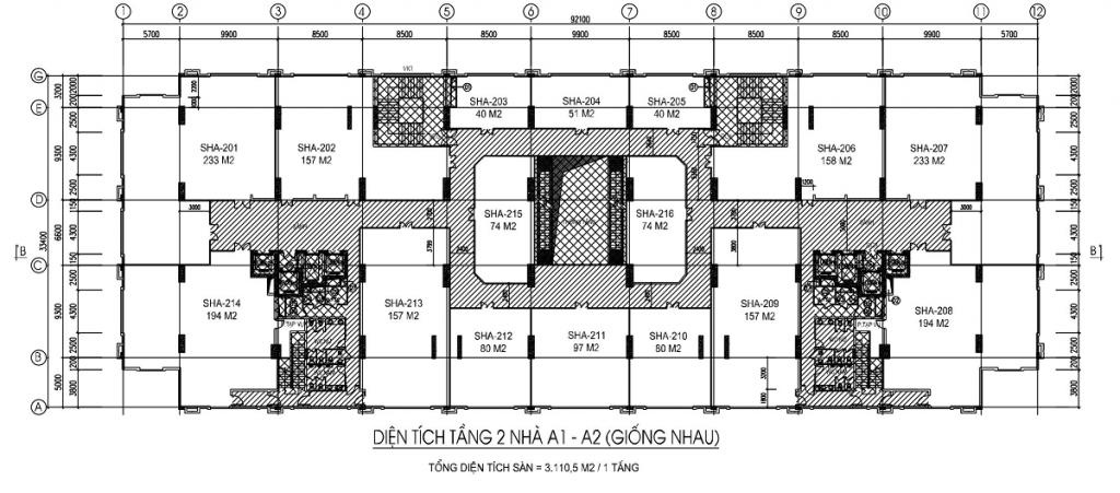 Mặt bằng Sàn thương mại - sàn văn phòng tầng 2 tòa A1, A2 thiết kế giống nhau