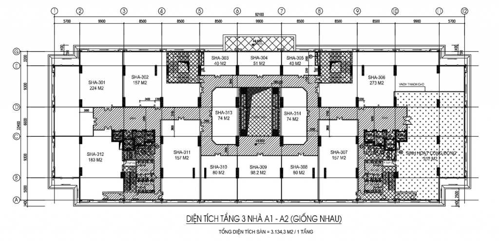 Mặt bằng Sàn thương mại - sàn văn phòng tầng 3 tòa A1, A2 thiết kế giống nhau
