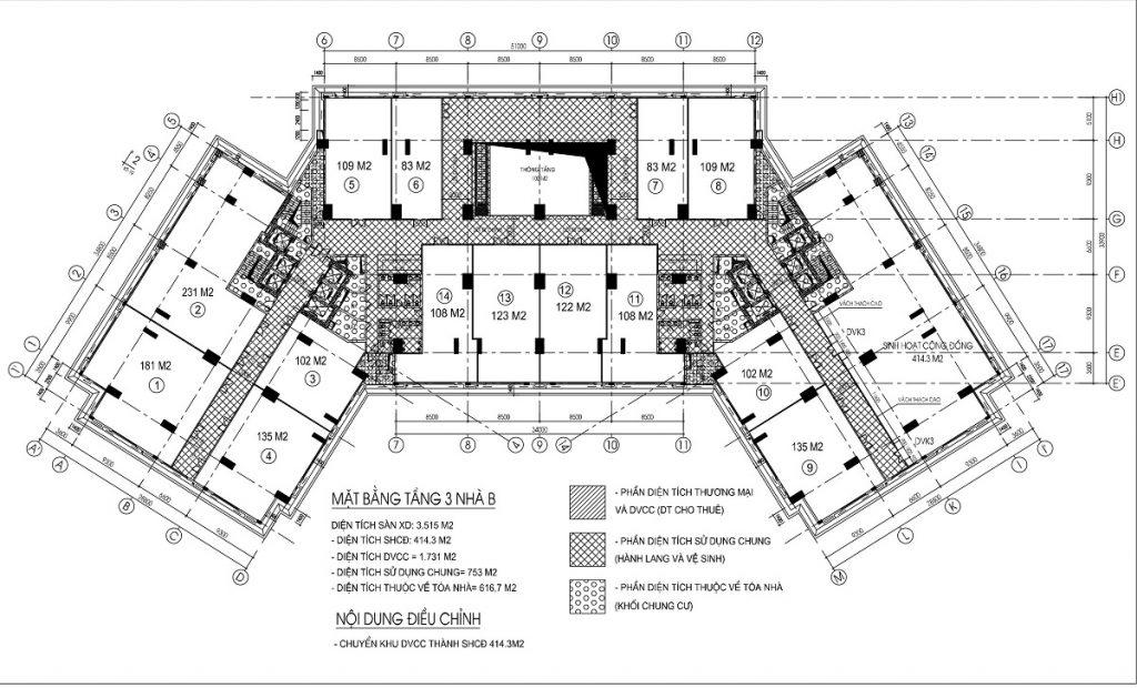 Mặt bằng sàn thương mại - văn phòng tầng 3 tòa B