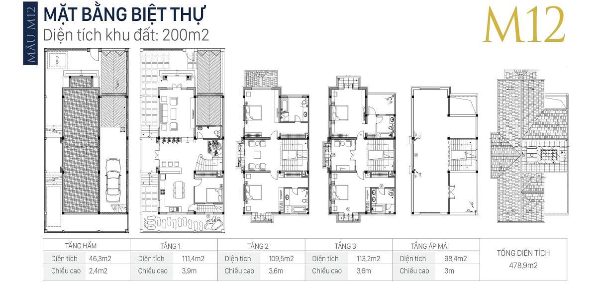 mặt-bằng-căn-M12-diện-tích-200m2-biệt-thự-an-khang-villa-nam-cường