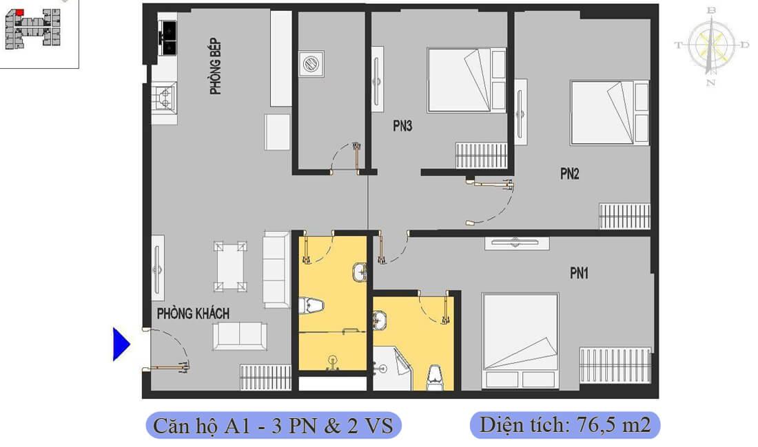mặt-bằng-căn-a1-76,5m2-nhà-ở-xã-hội-rice-city-thượng-thanh