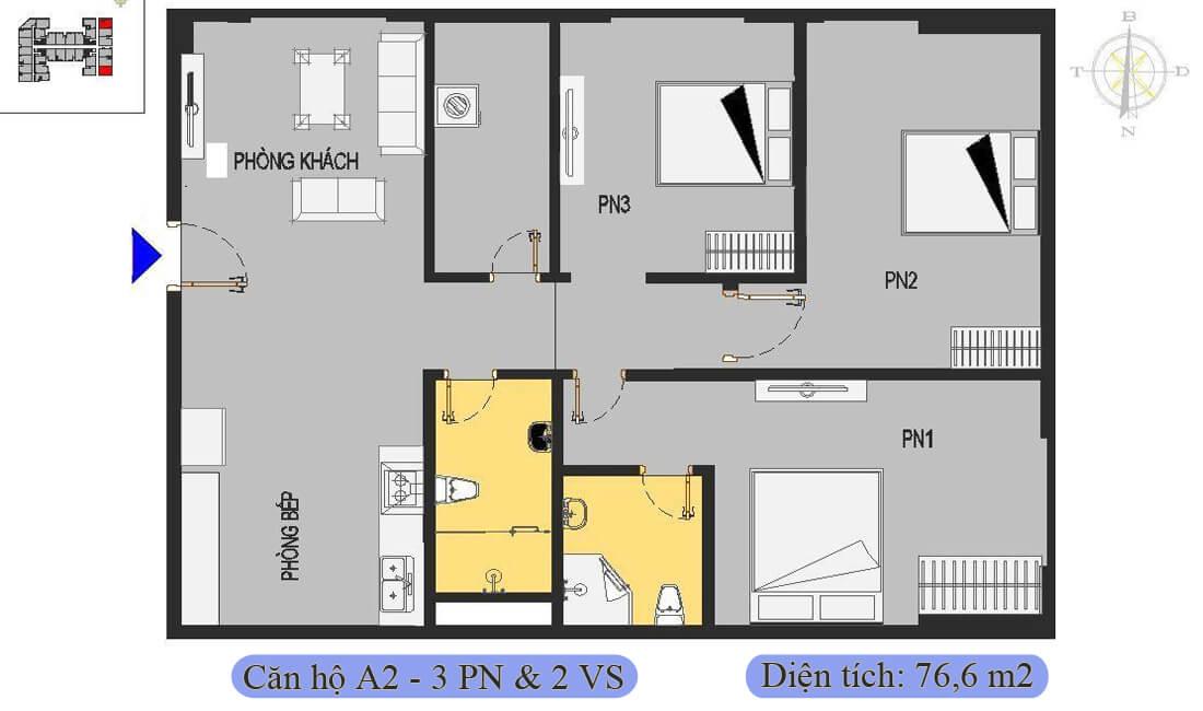 mặt-bằng-căn-a2-76,6m2-nhà-ở-xã-hội-rice-city-thượng-thanh
