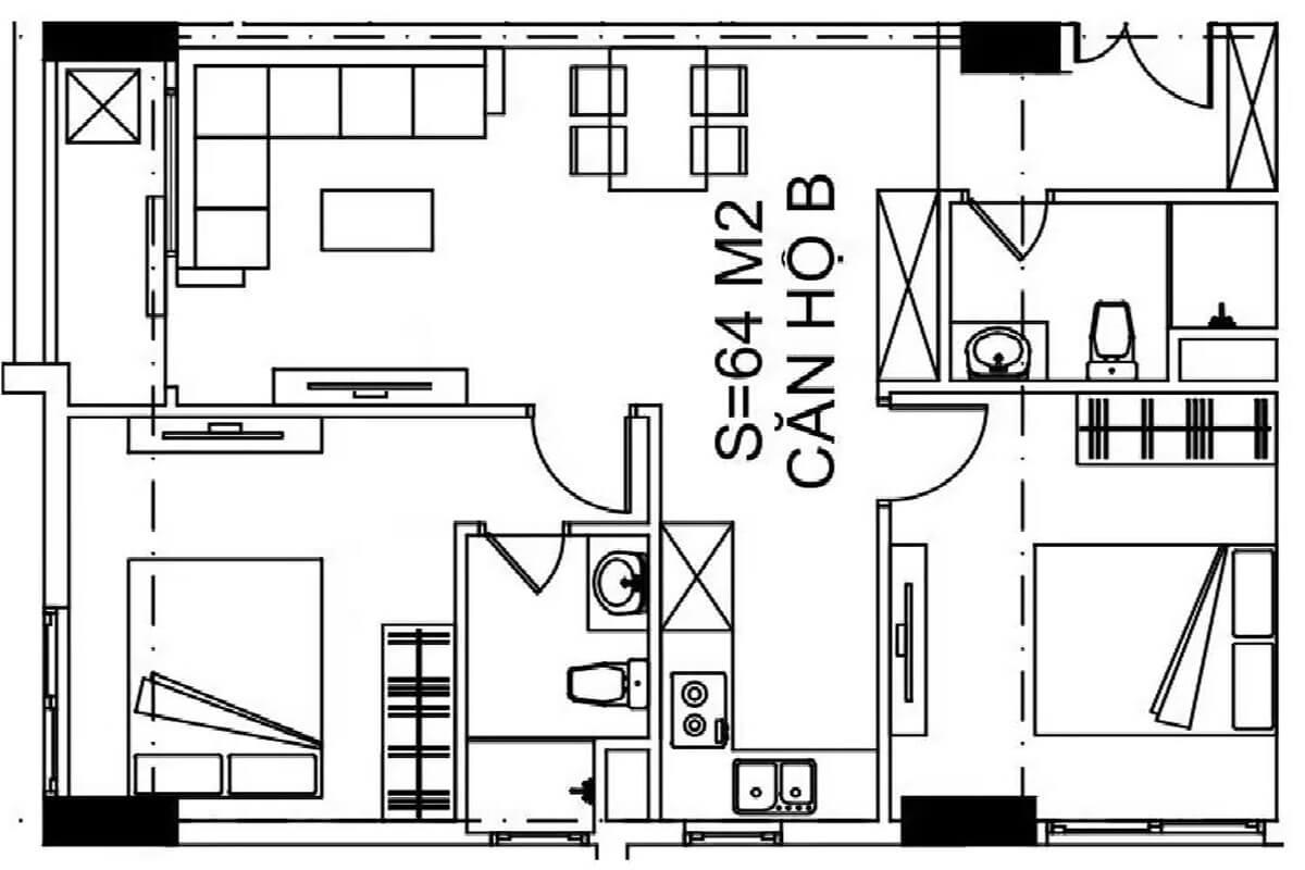 mặt-bằng-căn-64m2-nhà-ở-xã-hội-udic-ecotower-hạ-đình